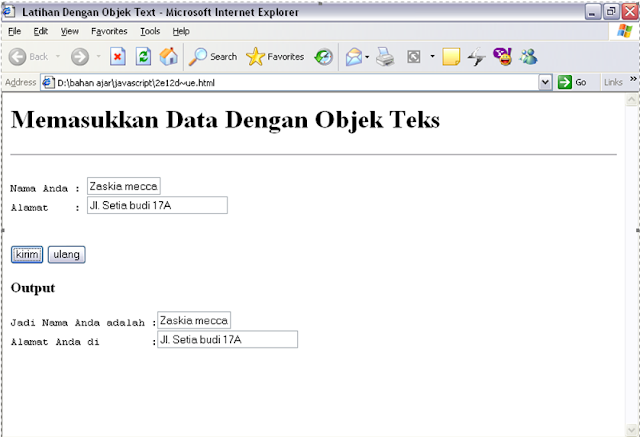 SOURCE CODE Program Memasukan Data dengan Objek Text JavaScript