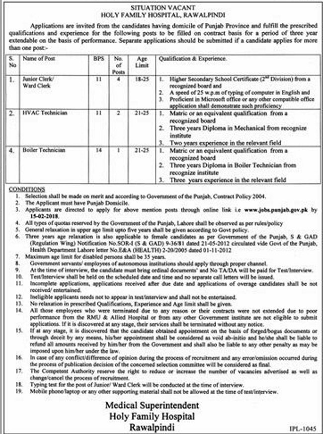 Jobs In Holy Family Hospital Rawalpindi January 2018