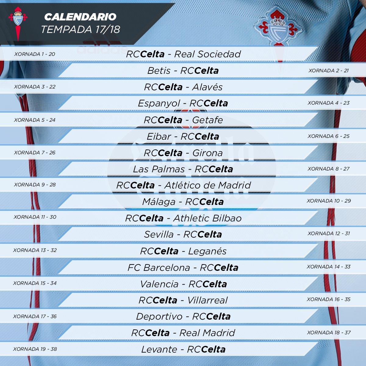 Calendario Celta Vigo.Moiceleste Tv Sorteo Liga As Datas Mais Importantes Para O Celta