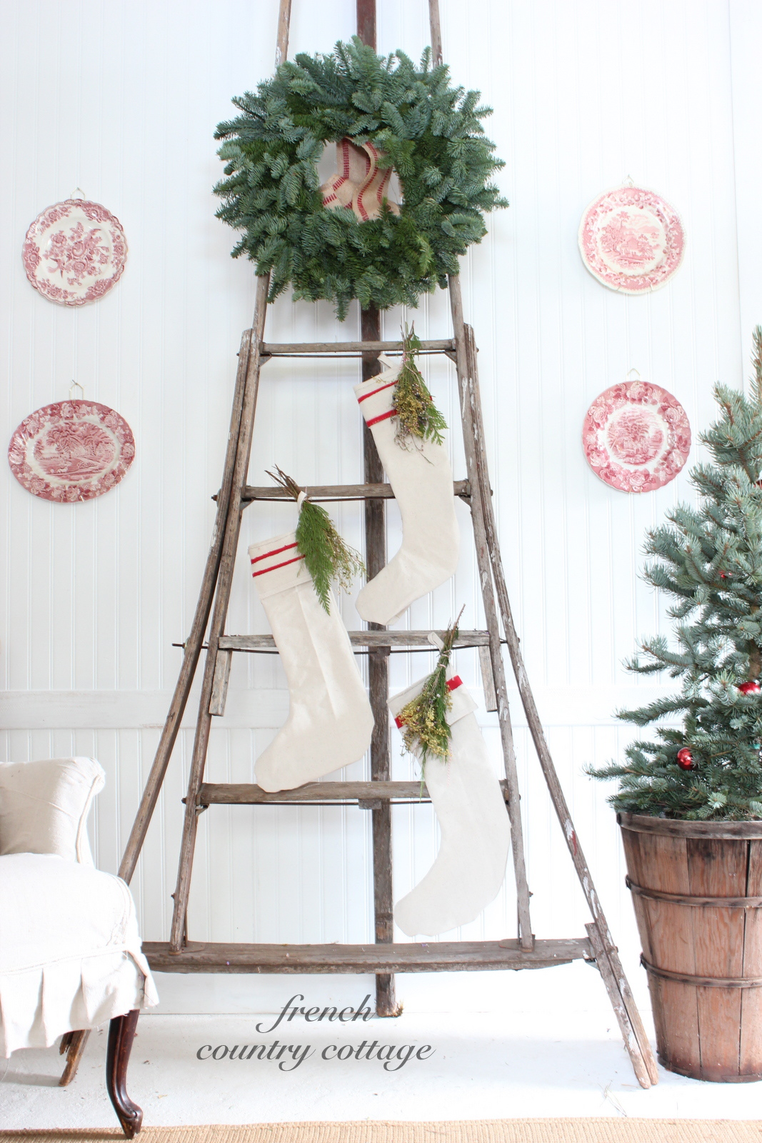 christmas orchard ladder love french country cottage