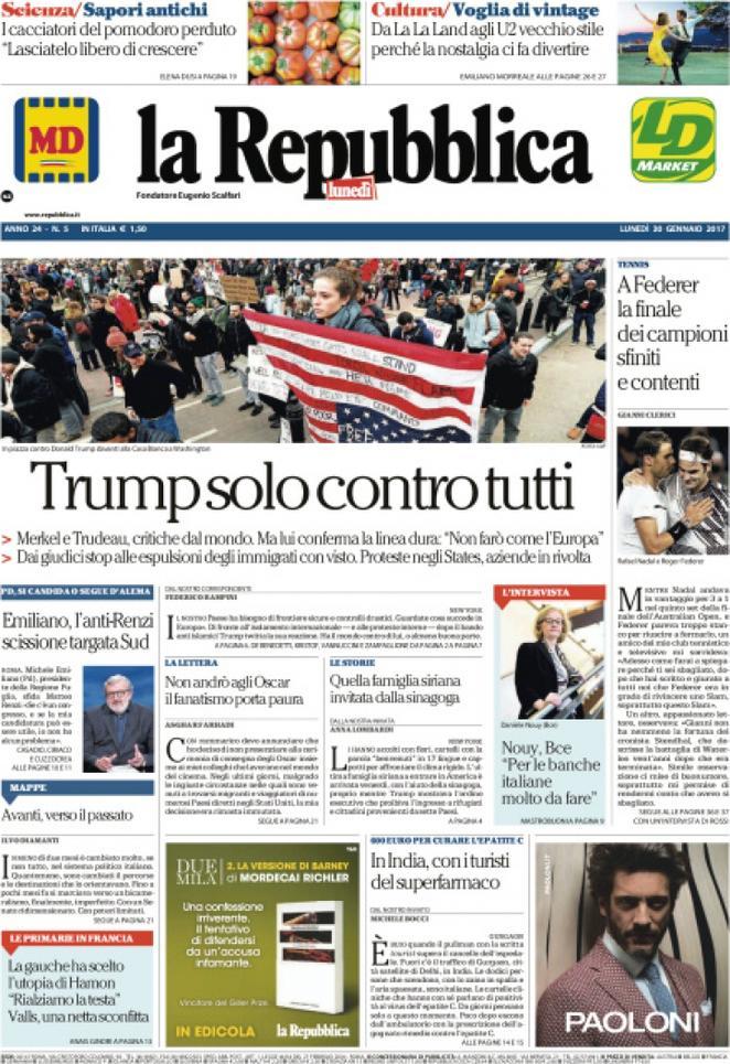 Reportages quotidiani la miglior prima pagina di oggi for Home page repubblica