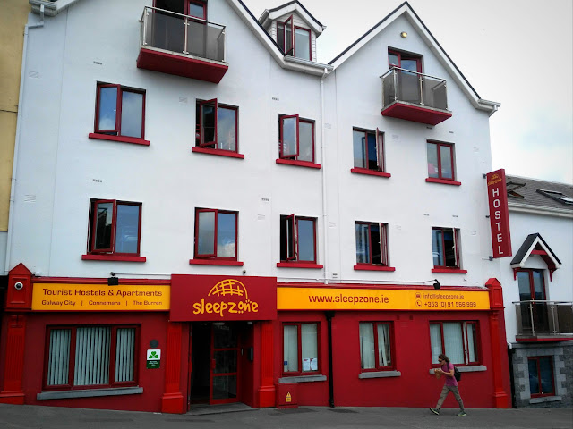white and red building, Galway