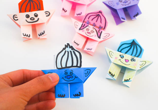 how to fold origami troll dolls with kids