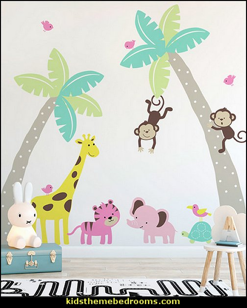 jungle baby bedrooms - jungle theme nursery decorating ideas - jungle wall murals - toddler jungle bedroom ideas - jungle animal decor - Jungle theme nursery - jungle theme nursery decals - Jungle wall stickers - 3D safari wall art decor - jungle theme nursery curtains - elephant shaped toddler bed - elephant headboard - Jungle Animals Wall Decals