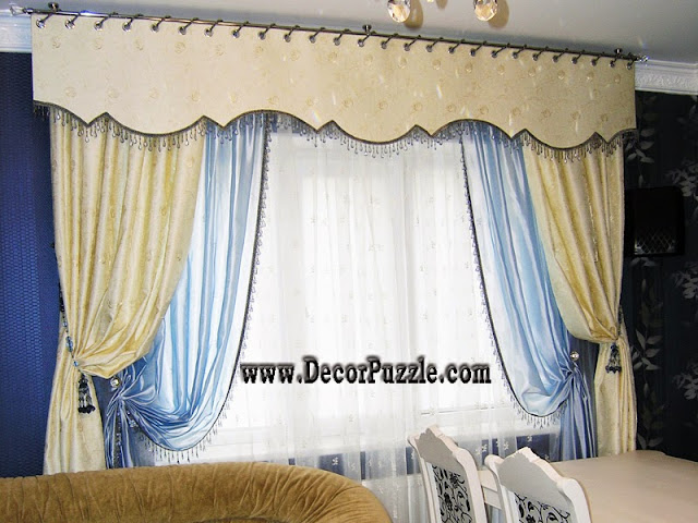 luxury classic curtains and valance designs 2017, embossed curtain fabric