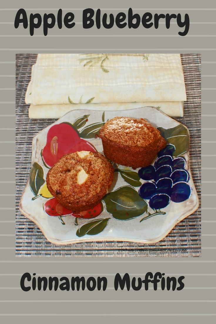 this apple and blueberry muffin recipe is easy and fast to make. They are full high crowned muffins with fruit throughout to keep them moist. The perfect breakfast muffin or brunch. Delicious muffins slathered in butter or plain