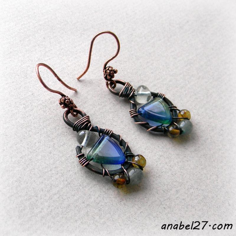 купить медные серьги в россии wire wrap jewelry