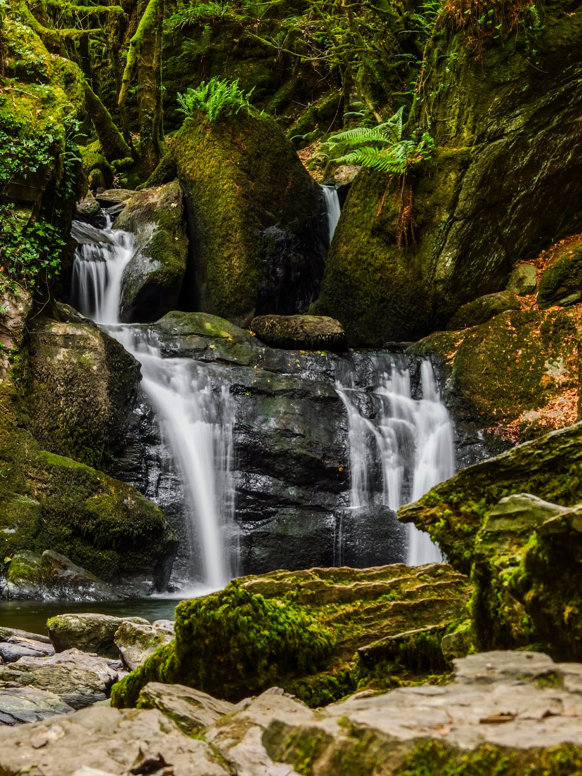 Mullinhassig Waterfall in County Cork photographed with a slow shutter speed.