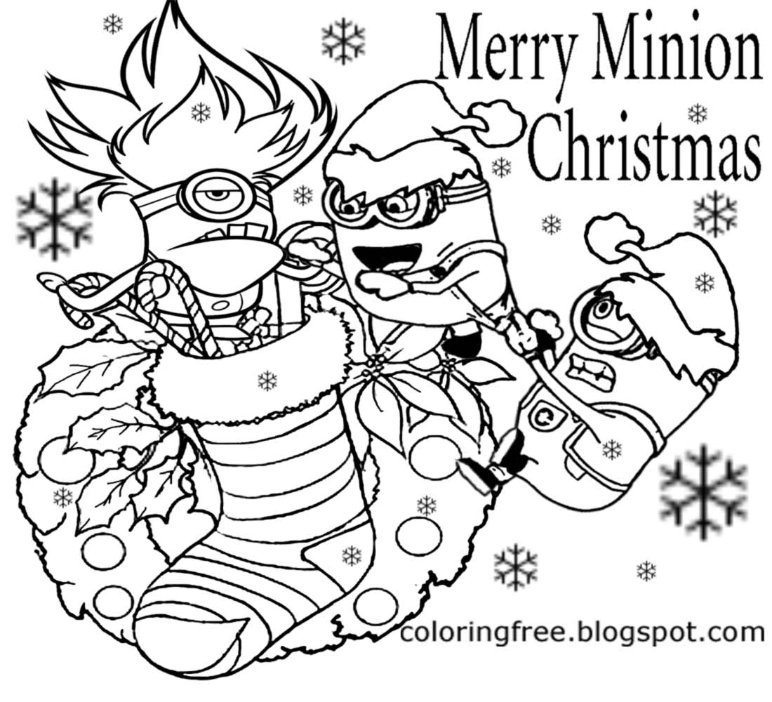 December Xmas Decoration Cool Merry Minions Christmas Coloring Pages For Youngsters To Print Color