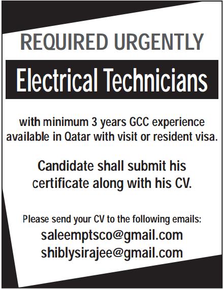Latest Electrical technician job vacancies in Qatar