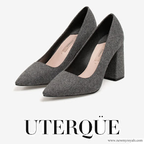 Queen Letizia wore UTERQUE High heel fabric shoes-Grey