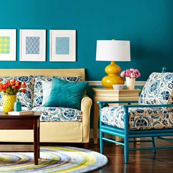 Vintage Living Room Paint Color Ideas Bright Blue Walls And Textile Patterns