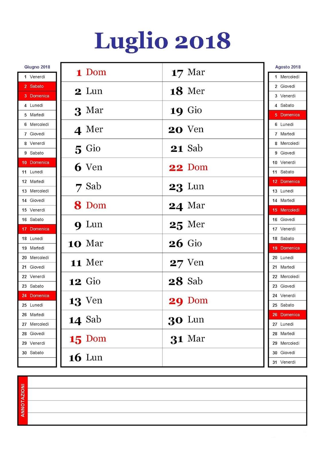 Calendario Luglio Agosto.Calendario Calendario Mensile Luglio 2018