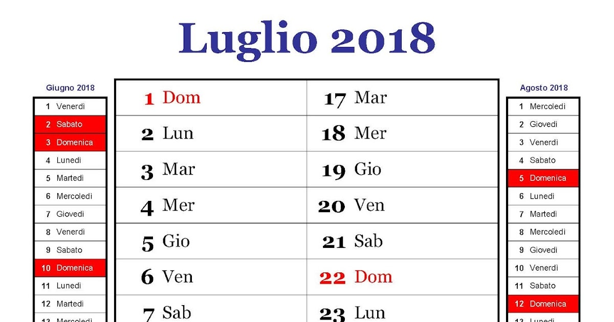Calendario Calendario Mensile Luglio 2018