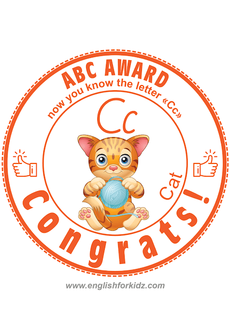 Printable award for alphabet learning -- letter C is for cat
