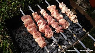 шашлык из свинины с помидором и луком жарится