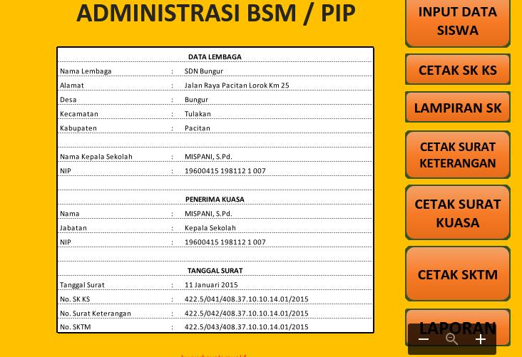 Aplikasi BSM dengan format Microsoft Excel