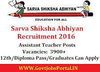 Sarva Shiksha Abhiyan Recruitment 2016 For 3900+ Assistant Teacher Posts Apply Online Here