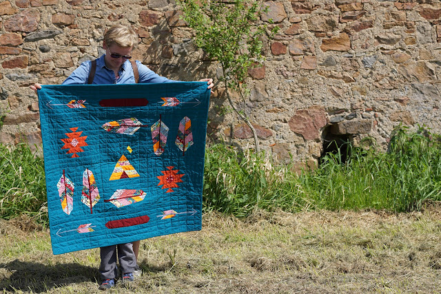 powwow bright modern baby quilt