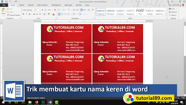Cara mudah membuat kartu nama keren di Microsoft word + video
