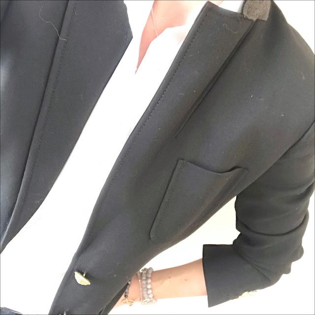 My Midlife Fashion, J Crew Rhodes Blazer, J Crew perfect shirt in cotton poplin, meme london friendship bracelets, french connection rebound cropped kick flare jeans, golden goose superstar leopard print trainers