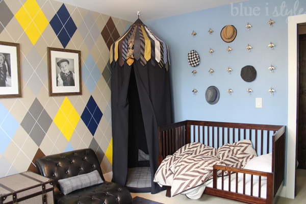 Necktie Play Tent in Menswear Themed Boy Room & diy with style Upcycle Ties to Create a DIY Play Tent | Blue i ...
