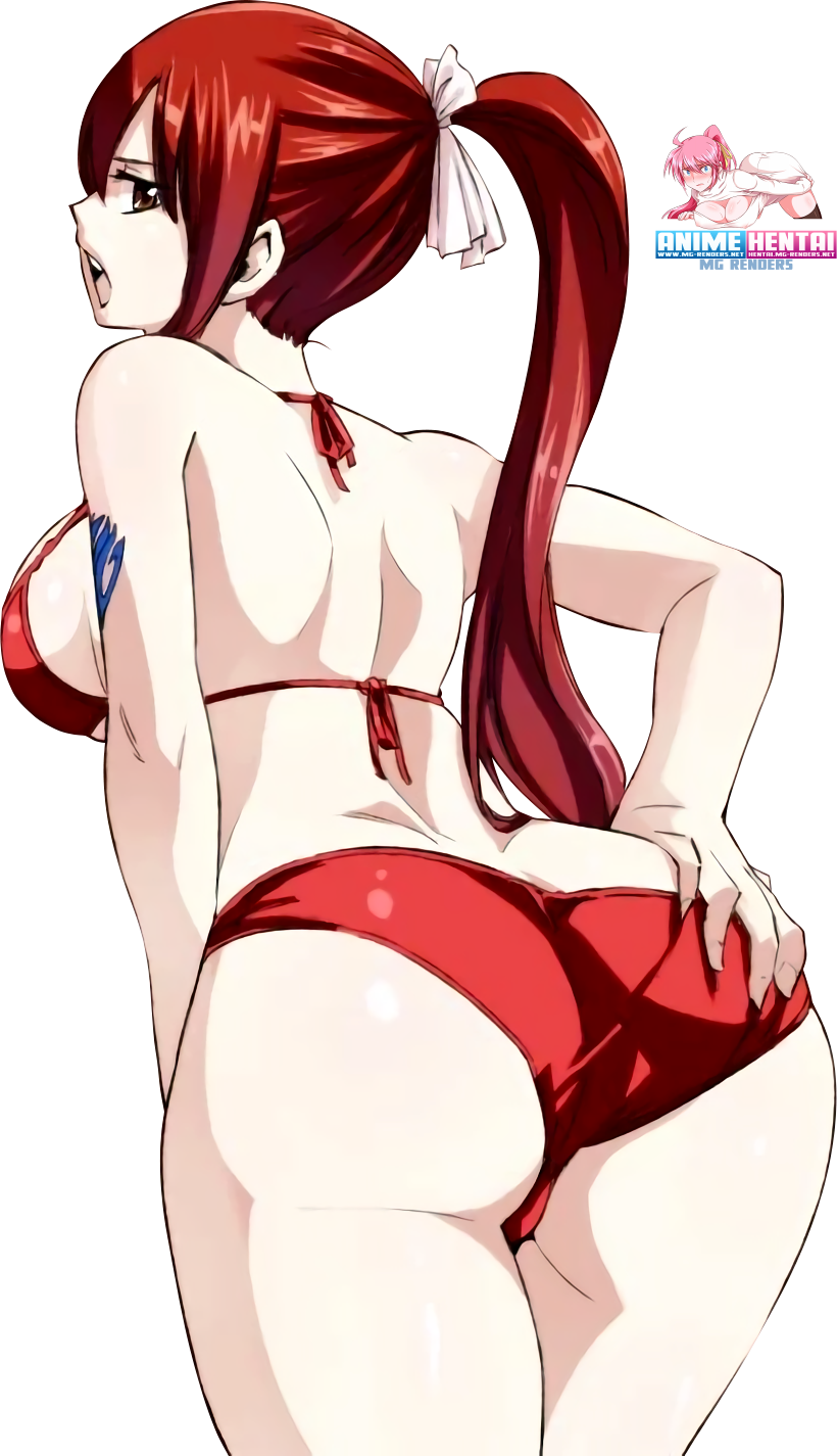 Tags: Anime, Render,  Ass Grab,  Erza Scarlet,  Fairy Tail,  Looking back,  Pov Ass,  PNG, Image, Picture