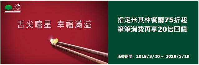 [里程活動]國泰世華信用卡指定米其林餐廳75折起-筆筆消費再享20倍回饋