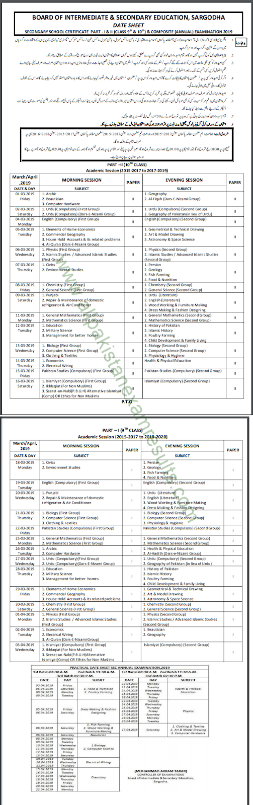 BISE Sargodha 10th Class Date Sheet 2019