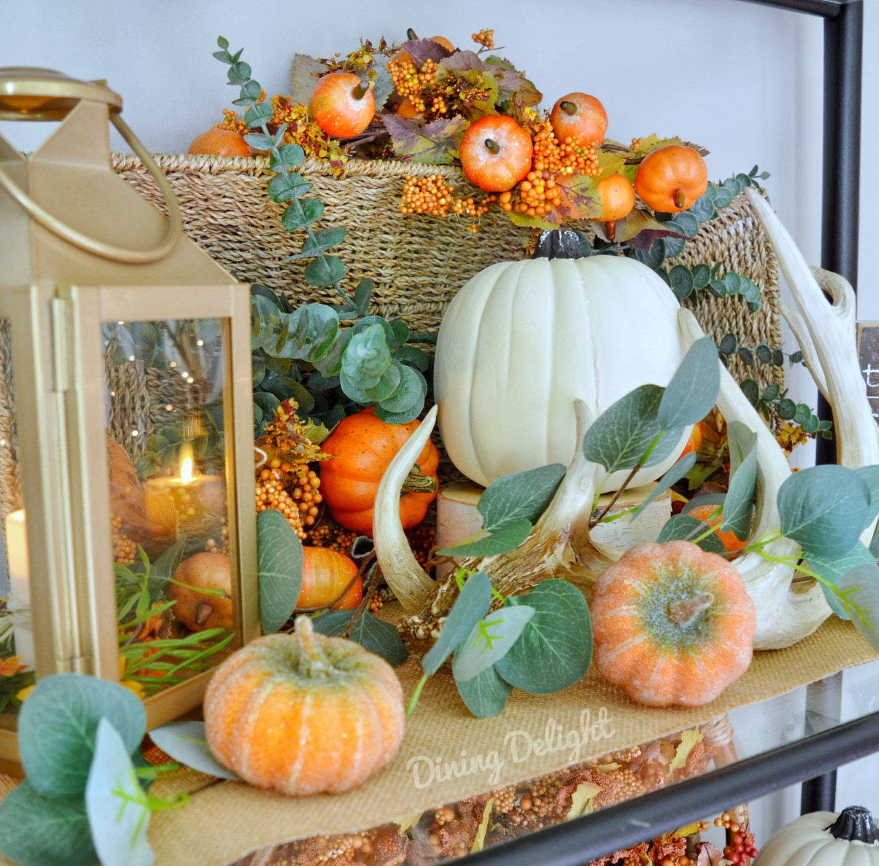Fall Decor on Etagere