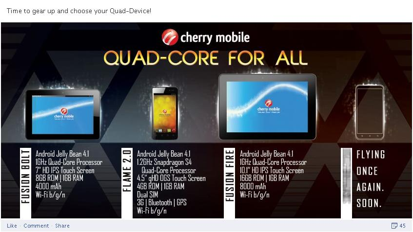 Quad Core Tablet 'Fusion Fire' from Cherry Mobile on 10.1 inches HD IPS Display