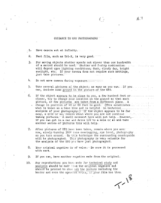 Official 'Guidance to UFO Photographers' Via The CIA
