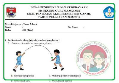 Soal UAS / PAS PJOK Kelas 3 Kurikulum 2013 Revisi 2018