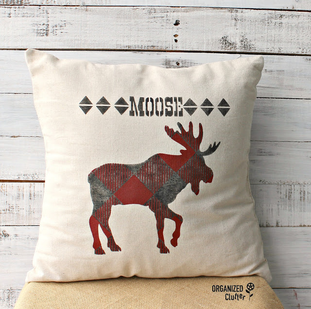 Stenciled Moose Pillow Cover