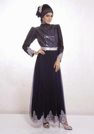 Contoh model baju muslim untuk pesta black coral