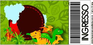 Tarjeta con forma de Ticket de Fiesta de Dinosaurios.