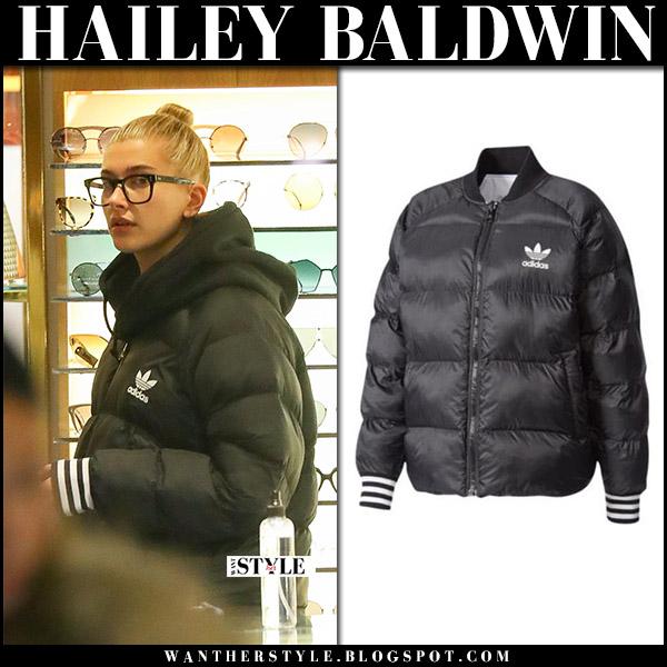 Hailey Baldwin in black puffer jacket coat adidas originals winter celebrity style december 14