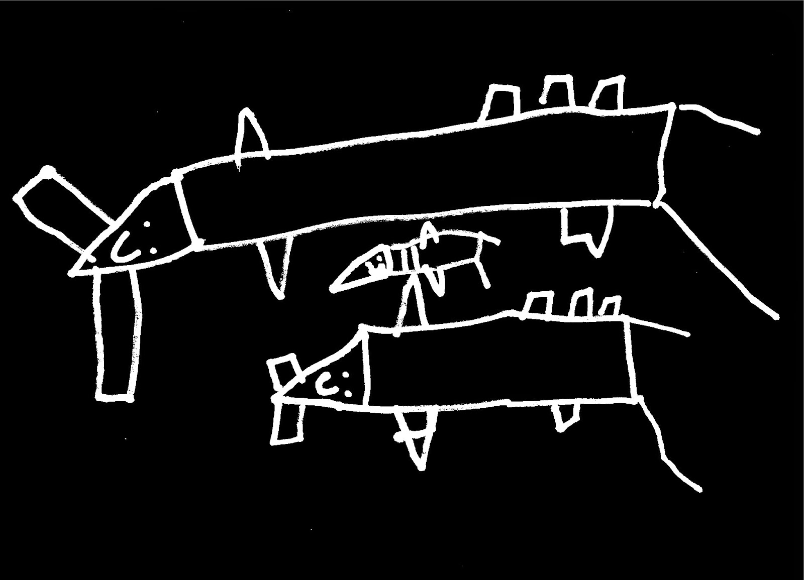Peces martillo estilo naif dibujados en trazos blancos sobre fondo negro ©Selene Garrido Guil
