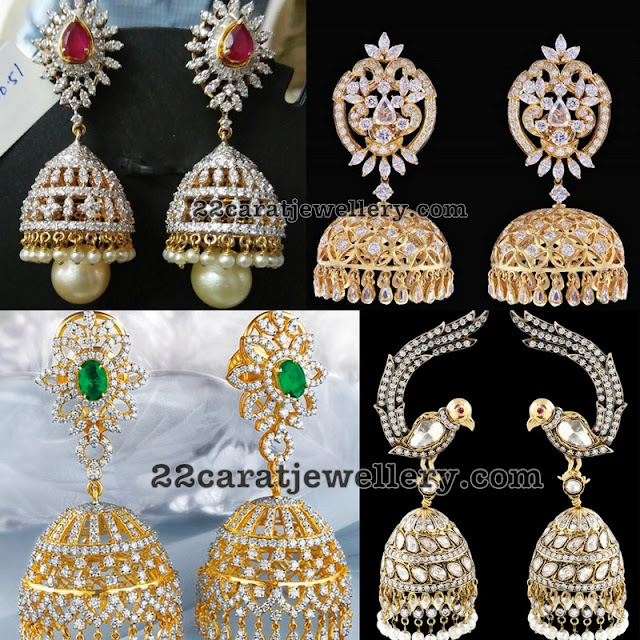 Diamond Jhumkas with Gemstones