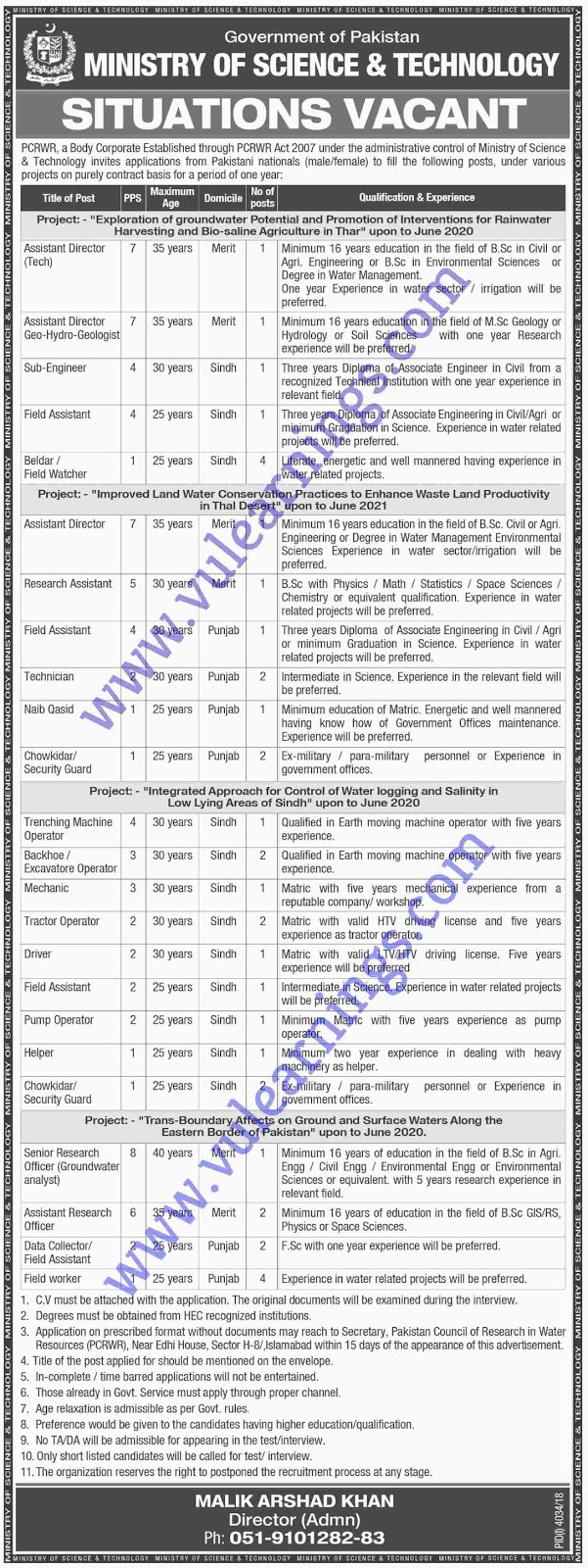 Job in Ministry of Science and Technology