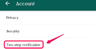 WhatsApp Screenshot denoting Two-step Verification