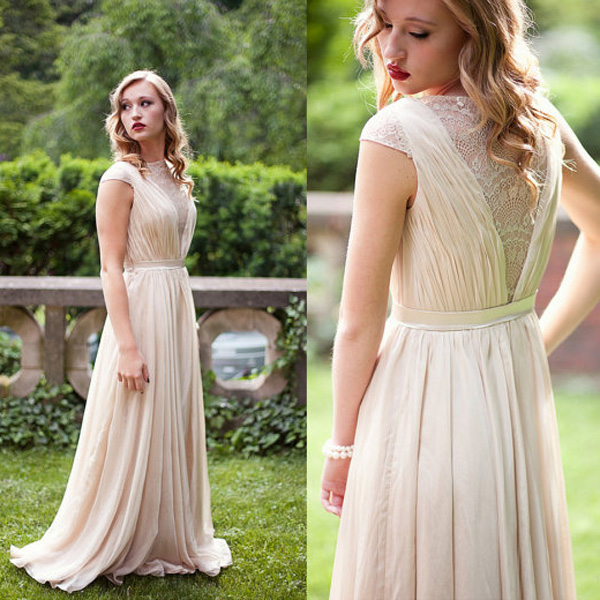 A-line Scoop Floor-length Chiffon Prom Dresses Lace Evening Dresses #SP8356