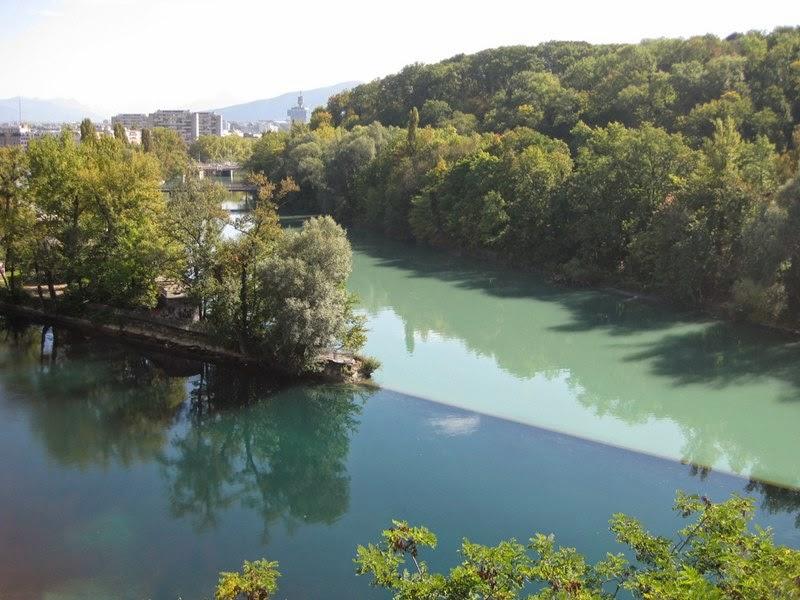 Confluence of Rhone and Arve Rivers   Geneva, Switzerland