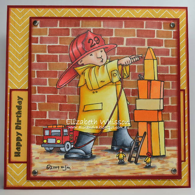 Mo Manning, firefighter, happy birthday, Elizabeth Whisson, Alshandra, fireman, copic, copic chisel, chisel nib, bricks