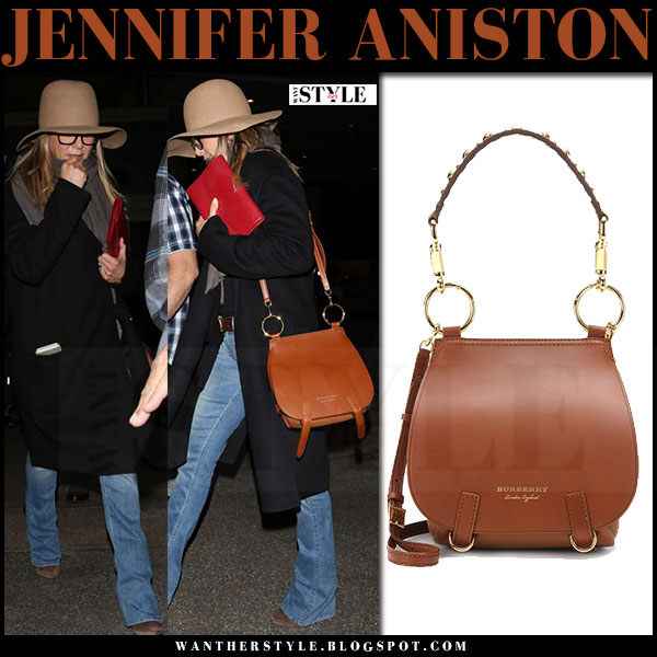 Jennifer Aniston with brown leather Burberry the bridle bag what she wore