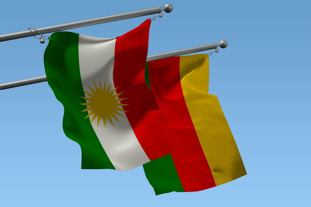 Flags of Kurdistan (official South- & West Kurdistan flags) Wallpaper