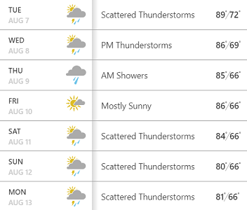 rainy weather in PA screenshot from weather dot com