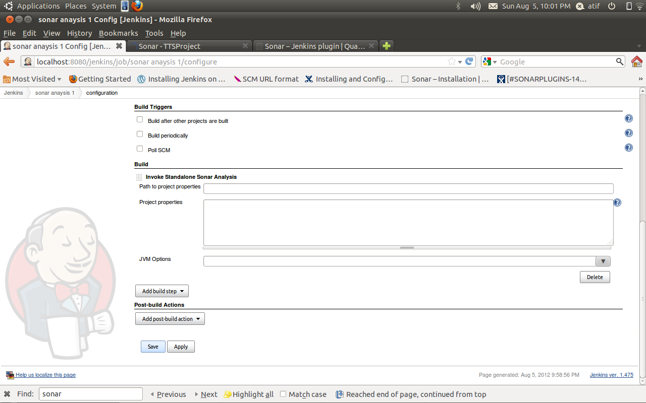 Configuring and Launching Sonar Analysis from Jenkins