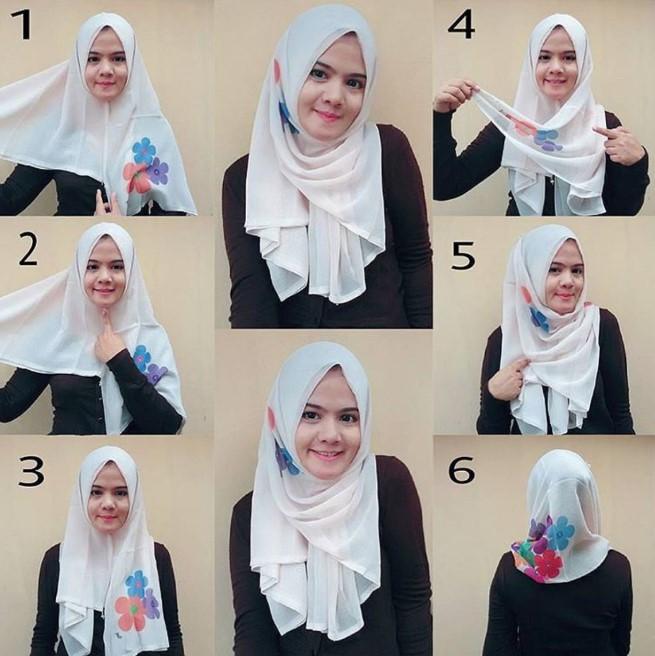 25 Tutorial Hijab Segi Empat Terbaru 2020 Simpel Modern