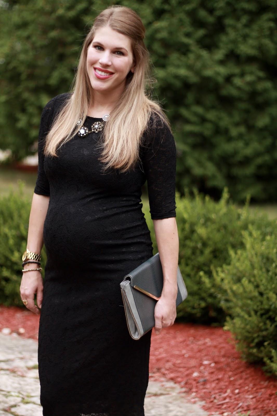 black lace maternity dress, green heels, grey clutch, vintage necklace, maternity wedding look